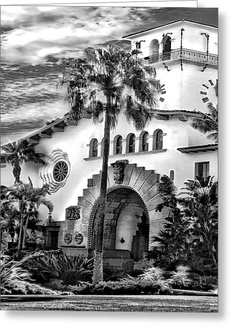 Santa Barbara City Hall Triptych_part2 Greeting Card by Danuta Bennett