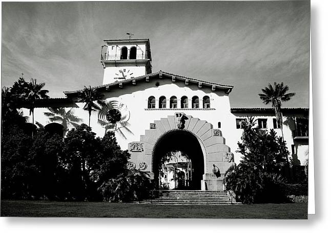 Santa Barbara Courthouse Black And White-by Linda Woods Greeting Card