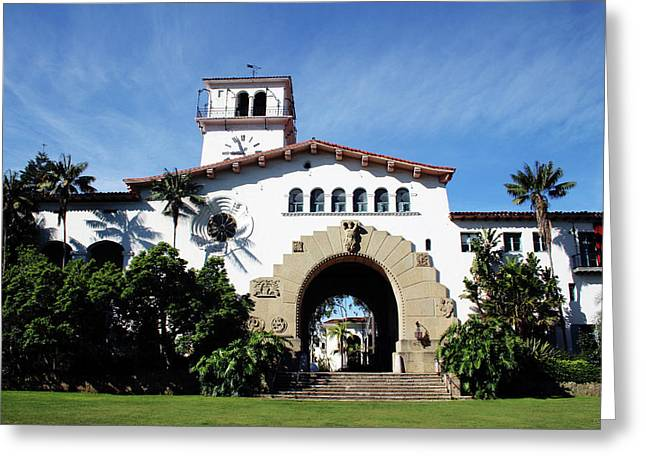 Santa Barbara Courthouse -by Linda Woods Greeting Card