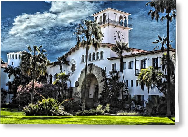 Santa Barbara Courthouse Greeting Card by Danuta Bennett