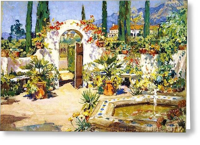 Santa Barbara Courtyard Greeting Card by Pg Reproductions