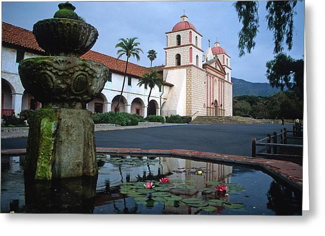 Santa Barbara Mission With Fountain 2 Greeting Card by Kathy Yates