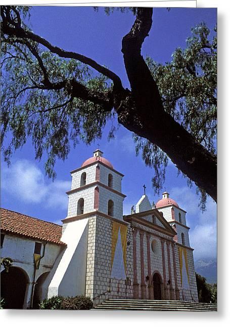 Mission Santa Barbara Greeting Cards - Santa Barbara Mission With Tree Greeting Card by Kathy Yates