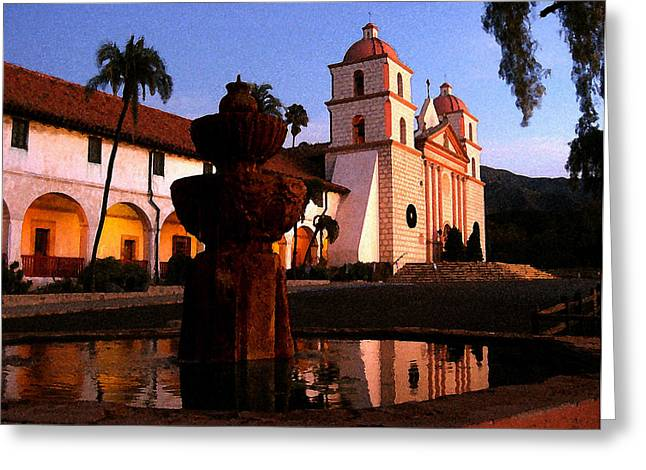 Greeting Card featuring the digital art Santa Barbara by Timothy Bulone