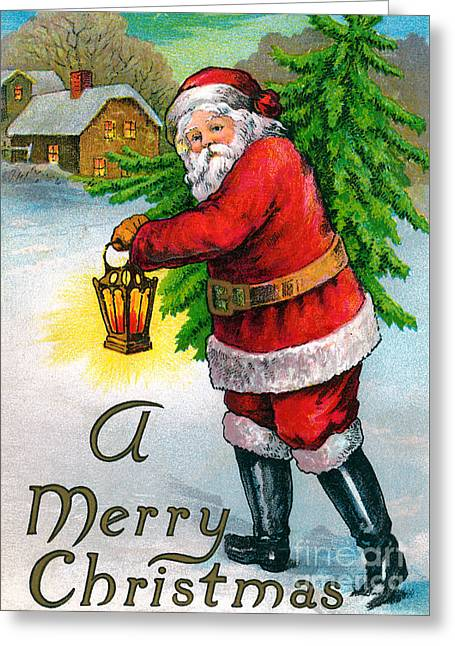 Santa Carrying A Christmas Tree Greeting Card by American School