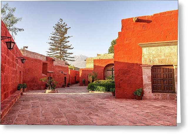 Santa Catalina Monastery Courtyard Greeting Card by Jess Kraft