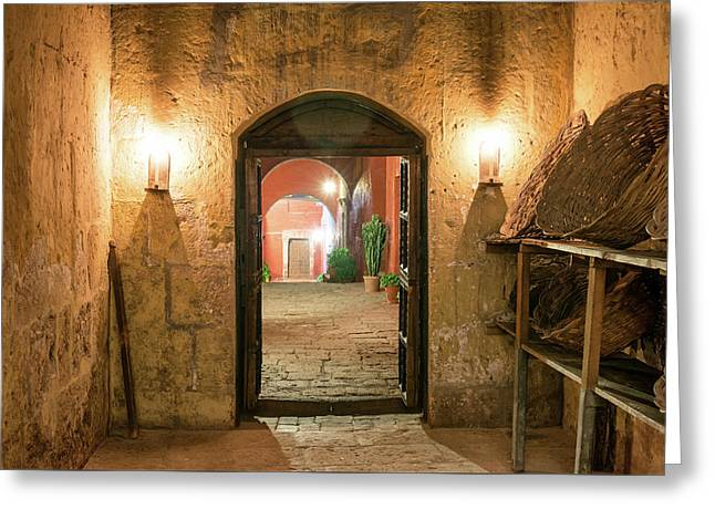 Santa Catalina Monastery Hallway Greeting Card by Jess Kraft