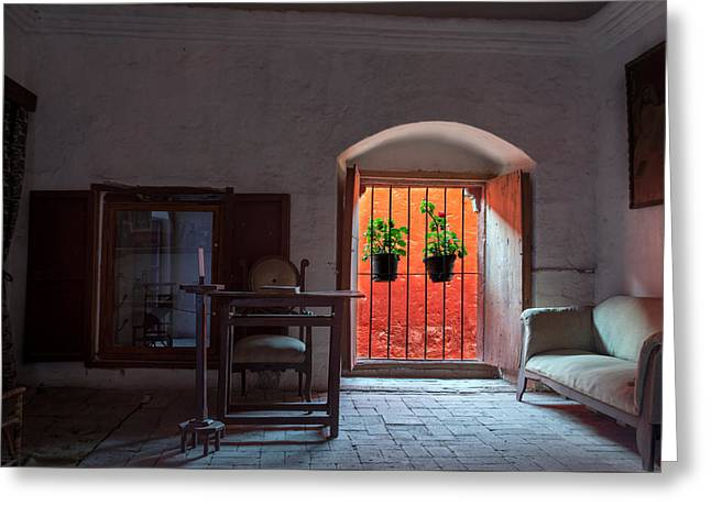 Santa Catalina Monastery Window Greeting Card by Jess Kraft