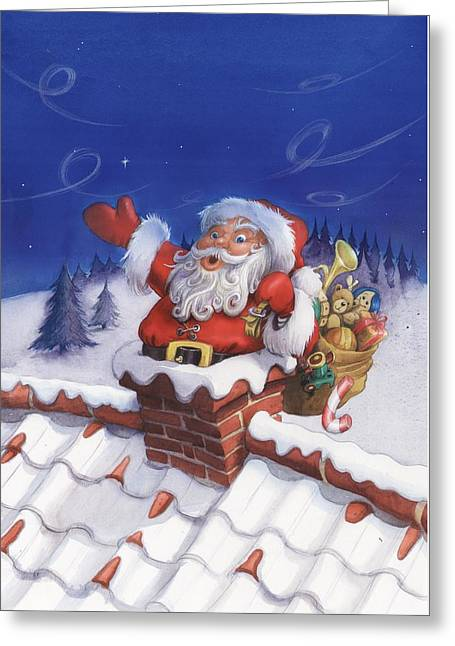 Santa Chimney Greeting Card