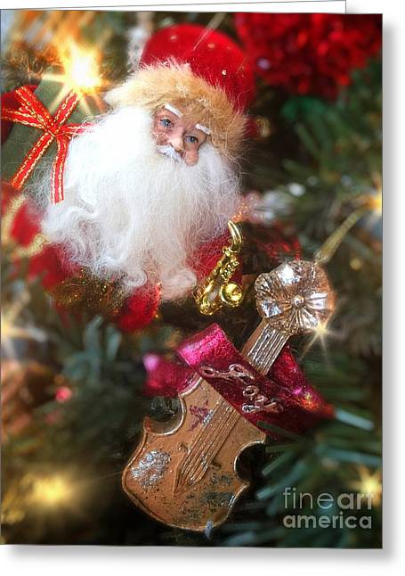 Santa Claus And Violin Greeting Card by Amy Cicconi
