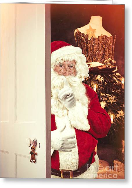 Santa Claus At Open Christmas Door Greeting Card by Amanda Elwell