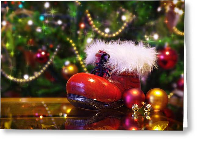 Santa-claus Boot Greeting Card by Carlos Caetano