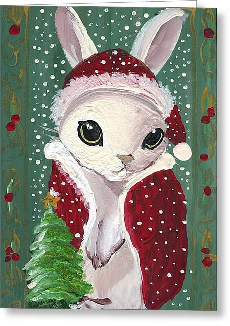 Santa Claus Bunny Greeting Card by Sylvia Pimental