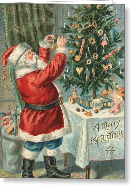 Santa Claus Decorating A Christmas Tree Greeting Card by American School