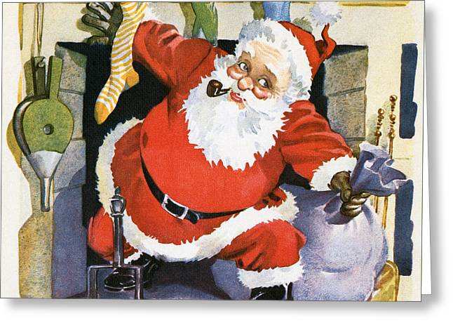 Santa Claus Emerging From The Fireplace On Christmas Eve Greeting Card