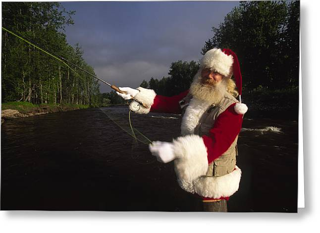 Santa Claus Fly Fishing Greeting Card by Michael Melford