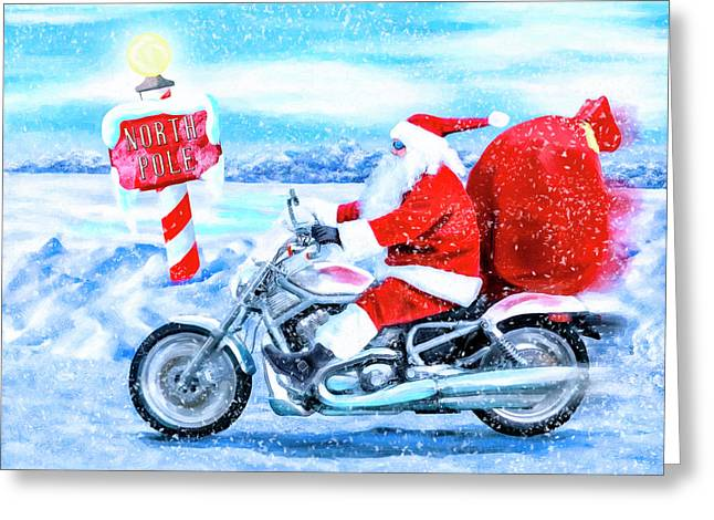 Santa Claus Has A New Ride Greeting Card