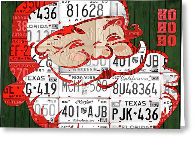 Santa Claus Ho Ho Ho Recycled Vintage Colorful License Plate Art Greeting Card by Design Turnpike