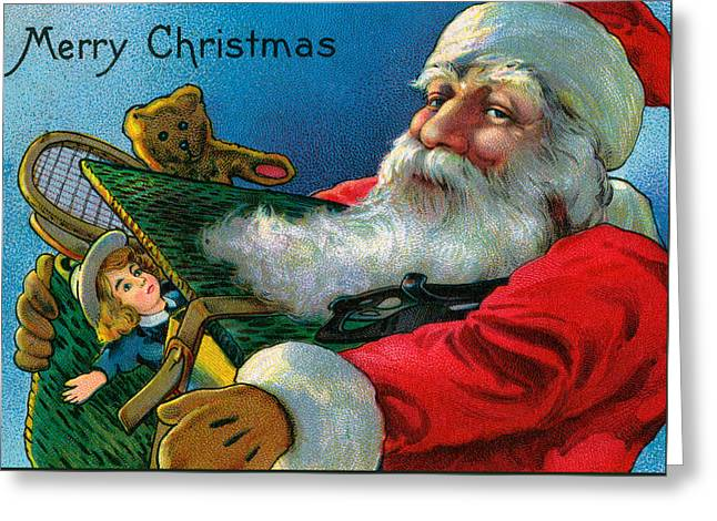 Santa Claus Holding Toys Greeting Card by American School