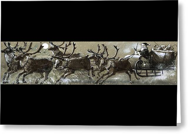 Santa Claus In His Sleigh Greeting Card by English School