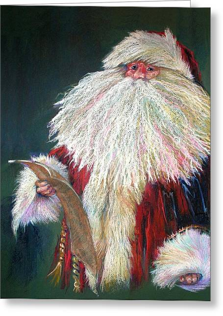 White Fur Greeting Cards - SANTA CLAUS  Making a List and Checking it Twice Greeting Card by Shelley Schoenherr