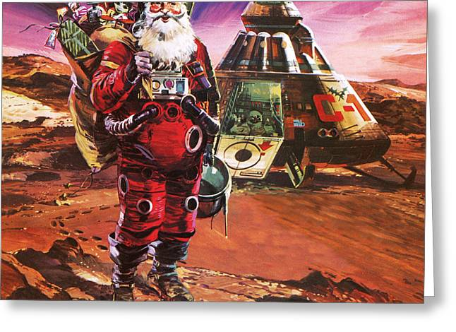 Santa Claus On Mars Greeting Card by English School