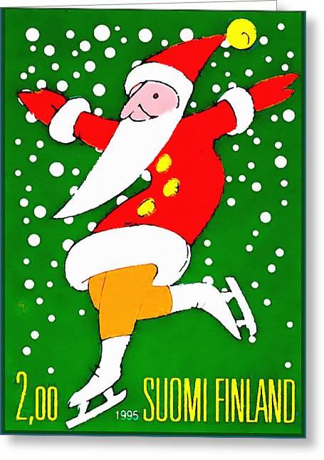 Santa Claus On Skates Greeting Card by Lanjee Chee
