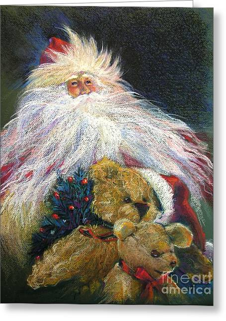 Christmas Pastels Greeting Cards - SANTA CLAUS Riding Up Front with the Big Guy  Greeting Card by Shelley Schoenherr