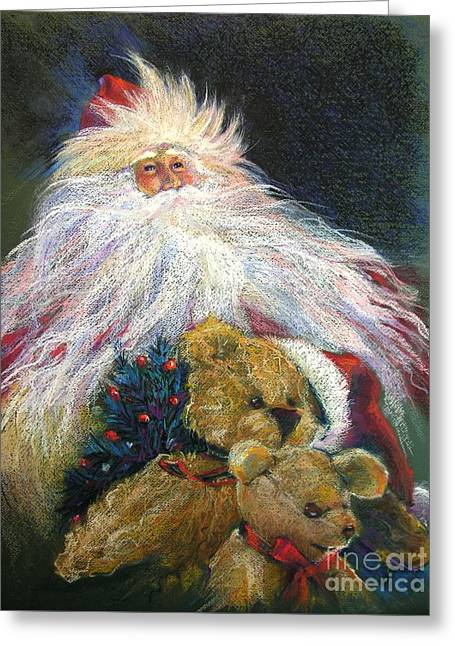Santa Claus Riding Up Front With The Big Guy  Greeting Card by Shelley Schoenherr