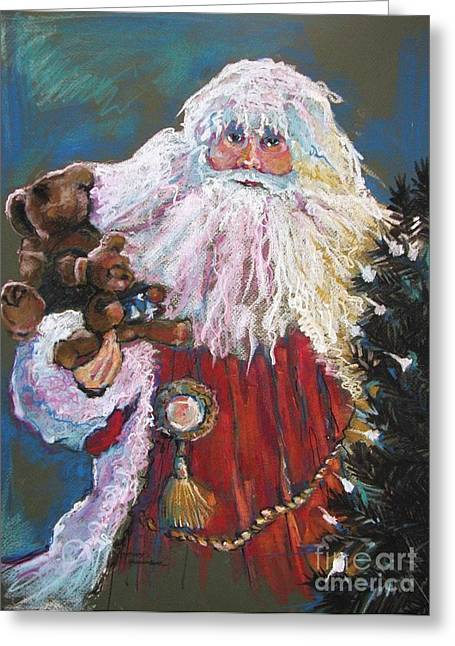 Christmas Pastels Greeting Cards - SANTA CLAUS Santa of the Tree Greeting Card by Shelley Schoenherr