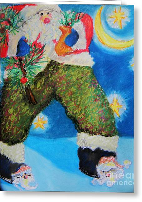 Nicholas Pastels Greeting Cards - Santa Claus Slippers Greeting Card by Emily Michaud
