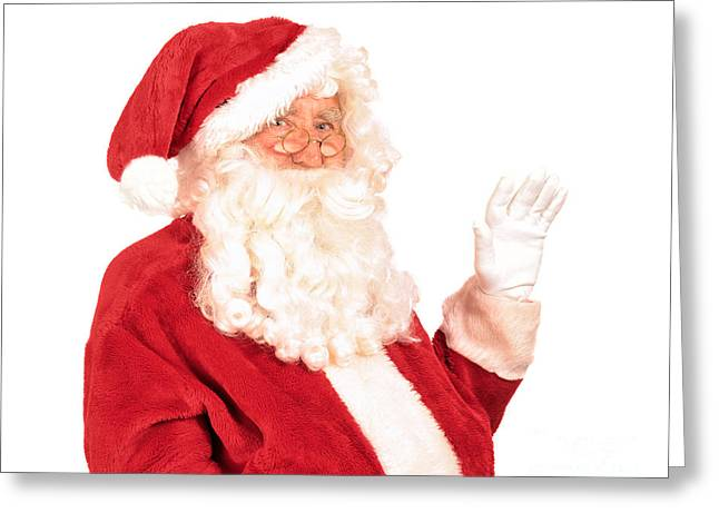 Santa Claus Waving Hand Greeting Card by Amanda Elwell