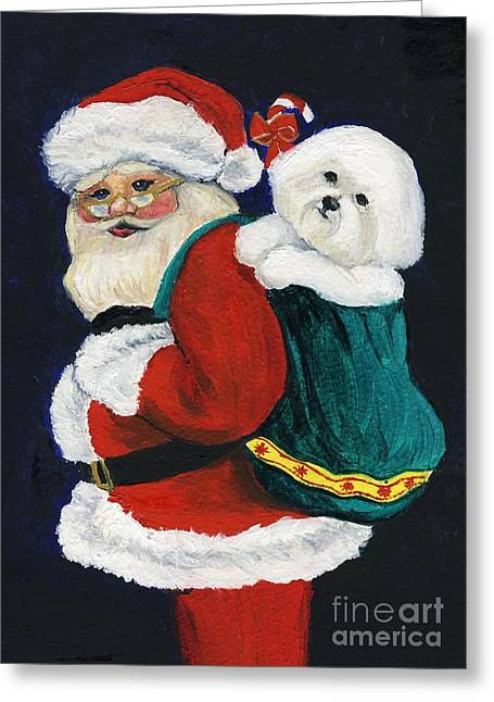 Santa Claus With Bichon Frise Greeting Card