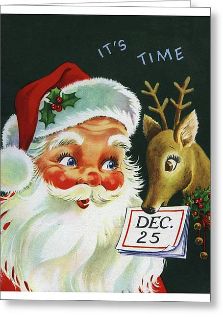 Santa Claus With His Deer On 25th. December Greeting Card