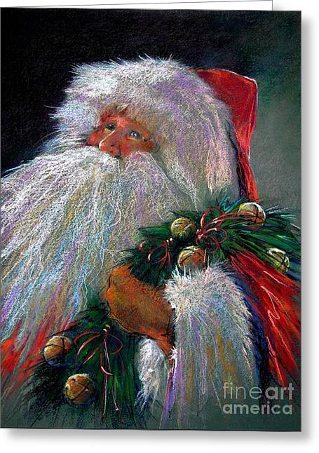 Santa Claus With Sleigh Bells And Wreath  Greeting Card by Shelley Schoenherr