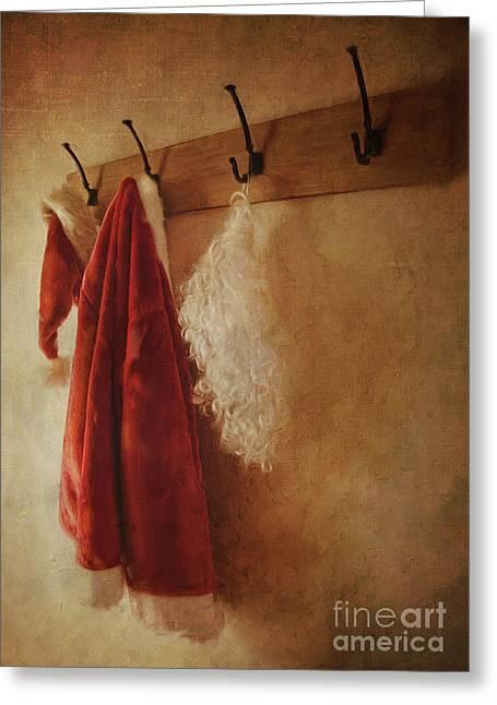 Santa Costume Hanging On Coat Hook/digital Painting  Greeting Card by Sandra Cunningham