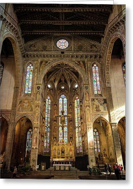 Santa Croce Florence Italy Greeting Card by Joan Carroll