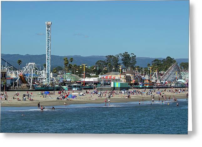Santa Cruz Boardwalk And Beach - California Greeting Card by Brendan Reals