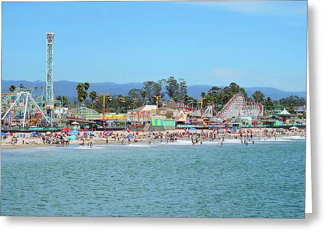 Santa Cruz Boardwalk Greeting Card by Connor Beekman