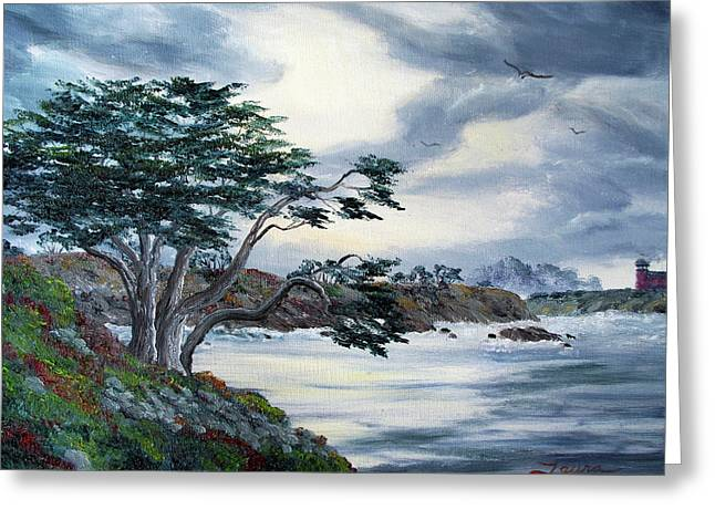 Grey Fine Art Greeting Cards - Santa Cruz Cypress Tree Greeting Card by Laura Iverson