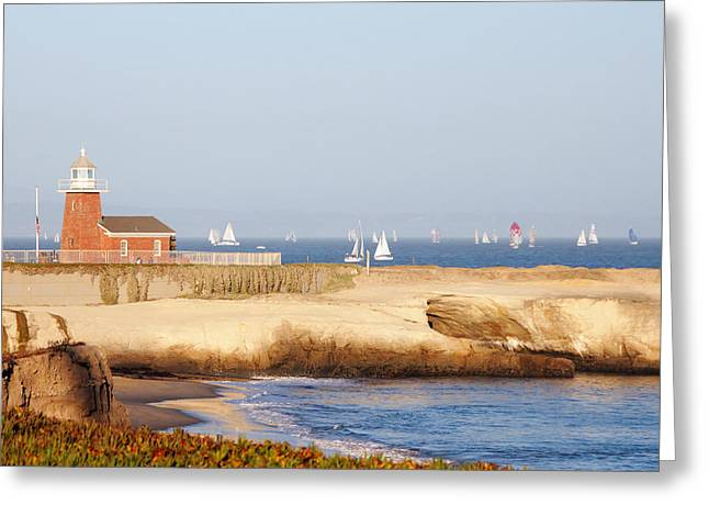 Santa Cruz Sailboat Greeting Cards - Santa Cruz Lighthouse Greeting Card by Paul Topp