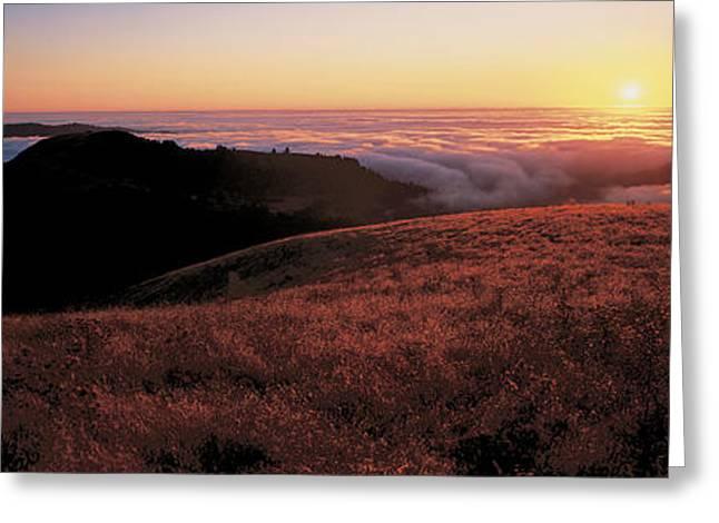 Santa Cruz Ca Greeting Cards - Santa Cruz Mountains At Sunset Ca Usa Greeting Card by Panoramic Images