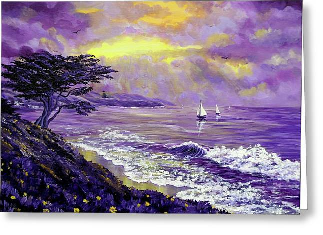 Yellow Sailboats Greeting Cards - Santa Cruz Rhapsody Greeting Card by Laura Iverson