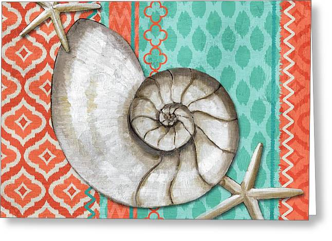 Santa Cruz Shells I - Aqua Greeting Card by Paul Brent