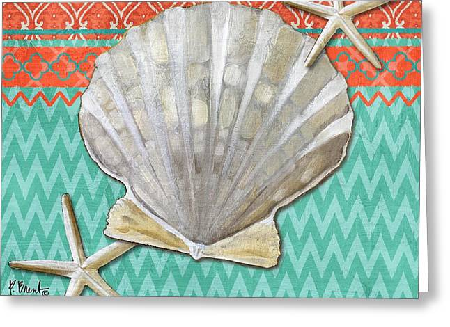 Santa Cruz Shells IIi - Aqua Greeting Card by Paul Brent