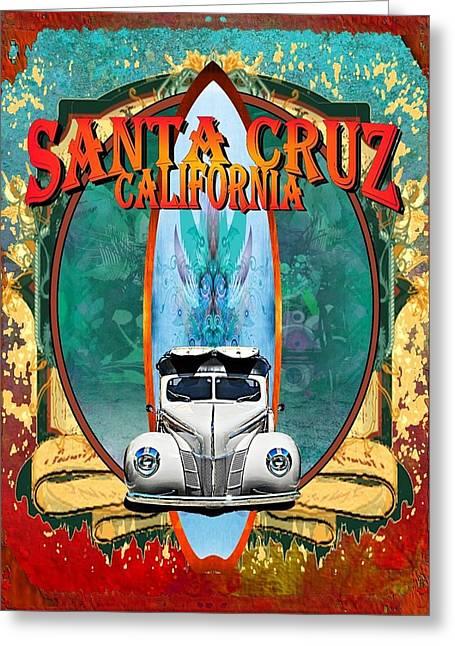 Santa Cruz Surf Greeting Card by Phil Hamilton