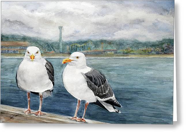 Santa Cruz Wharf Greeting Card by Susy Soulies