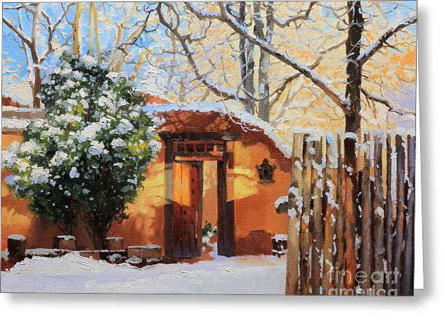 Night Cafe Greeting Cards - Santa Fe adobe in winter snow Greeting Card by Gary Kim