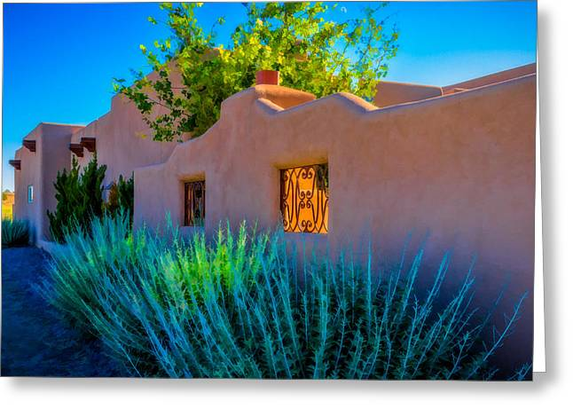 Santa Fe Adobe Greeting Card by Ken Stanback