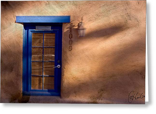 Santa Fe Blue Greeting Card by Christine Hauber